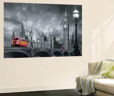 Bus on Westminster Bridge London Mini Mural Huge Poster Art Print