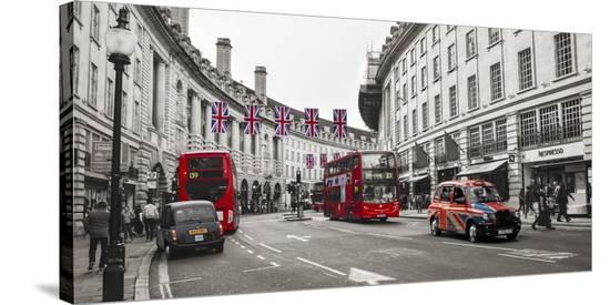Buses and taxis in Oxford Street, London-Pangea Images-Stretched Canvas