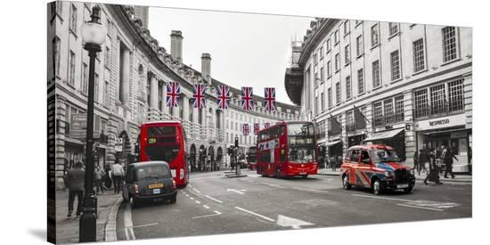 Buses and taxis in Oxford Street, London-Pangea Images-Stretched Canvas Print