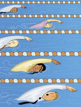 Businesspeople Swimming in Competition