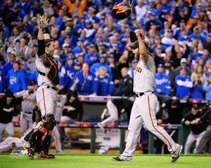 Buster Posey & Madison Bumgarner celebrate winning Game 7 of the 2014 World Series