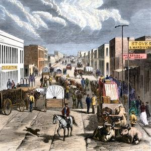 Busy Downtown Denver, Colorado, Late 1870s