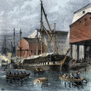 Busy US Navy-Yard in Philadelphia, 1870s