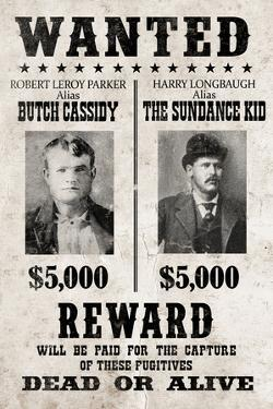 Butch Cassidy and The Sundance Kid Wanted Advertisement Print Plastic Sign