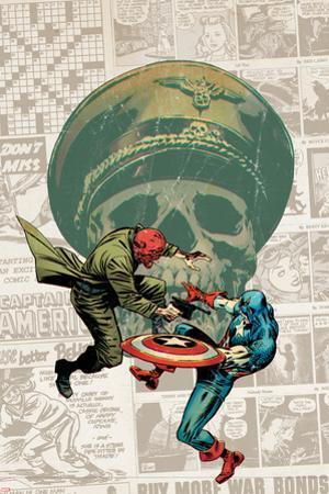 Captain America: The 1940s Newspaper Strip No.3 Cover: Red Skull Fighting Captain America