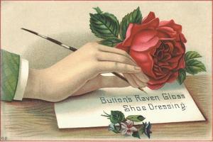 Button's Raven Gloss Shoe Dressing Trade Card
