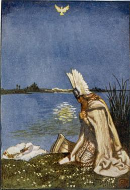 Lohengrin and the Dove of the Holy Grail Who Will Tow His Boat (Replacing the Swan) to Monsalvat by Byam Shaw