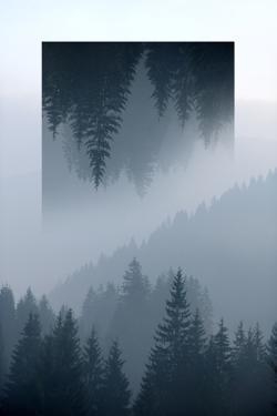 Dark Mountains Forest and Fog - Geometric Reflections Effect by byrdyak