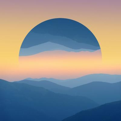 Sunrise over Mountains Silhouettes - Geometric Reflections Effect by byrdyak