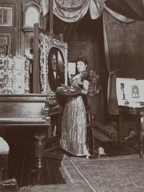 Artist Mary Tillinghast Painting a Portrait in Her Studio, New York, C.1897 by Byron Company