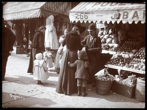 View of Women with Children Shopping at a Fruit and Vegetable Stand at 266 7th Avenue, New York,… by Byron Company