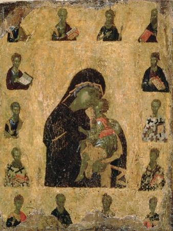 Virgin of Tenderness with the Saints, 1350-1400 (Egg Tempera and Gesso on Panel) by Byzantine