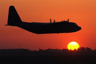 C-130 Hercules (Take Off in Sunset) Art Poster Print