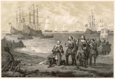Gustaf Adolf King of Sweden Lands at Usedom by C.a. Dahlstrom