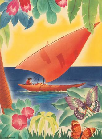 Tropical Flowers, Sailboat and Butterflies - Moore-McCormack Lines by C. A. Rosser
