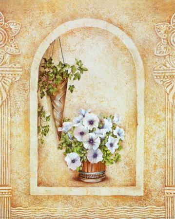 Vase of Flowers and Fresco Background III by C. Beneforti