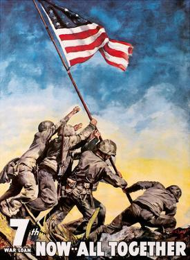 Iwo Jima, Japan - American Flag Raising - Now All Together - 7th War Loan by C. C. Beall