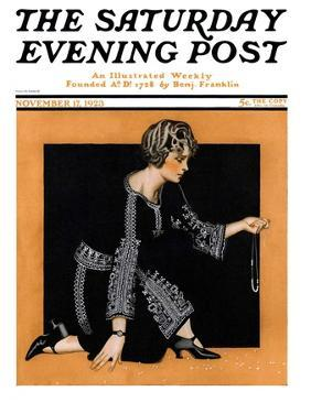 """""""Broken Pearl Necklace,"""" Saturday Evening Post Cover, November 17, 1923 by C. Coles Phillips"""