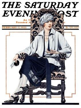 """""""Seated Woman,"""" Saturday Evening Post Cover, February 17, 1923 by C. Coles Phillips"""