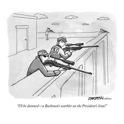 """""""I'll be damned—a Bachman's warbler on the President's limo!"""" - New Yorker Cartoon"""