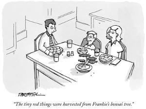 """""""The tiny red things were harvested from Frankie's bonsai tree."""" - New Yorker Cartoon by C. Covert Darbyshire"""