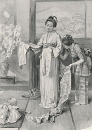 Female Attendant Helps Madama Butterfly to Dress