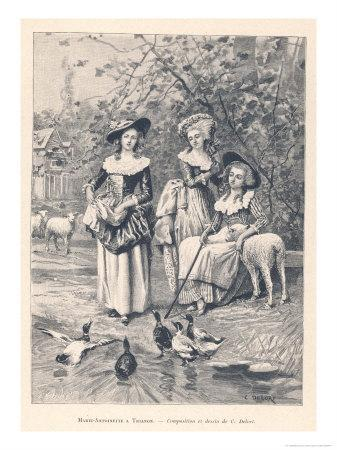 Marie Antoinette Depicted at the Petit Trianon Versailles Playing at Being a Shepherdess