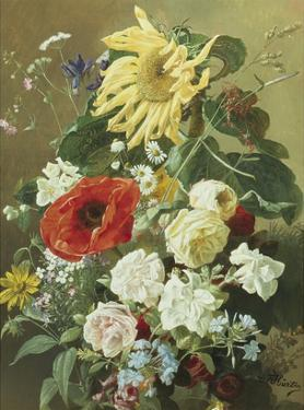 A Rich Still Life with Sunflower and Roses by C.f. Hurten