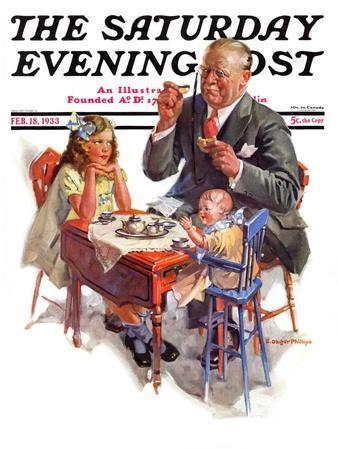 """""""Tea for Grandpa,"""" Saturday Evening Post Cover, February 18, 1933"""