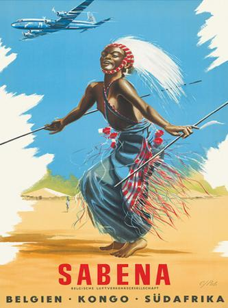 Sabena Airlines, Belgium - Congo - South Africa c.1950s by C. J. Pub
