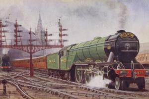 London and North Eastern Railway Flying Scotsman Train Leaving Kings Cross Station, London by C. T. Howard
