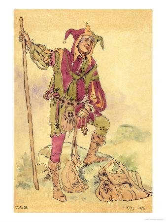 """Costume Design For a Jester For """"A Midsummer Night's Dream"""" c.1881-93"""