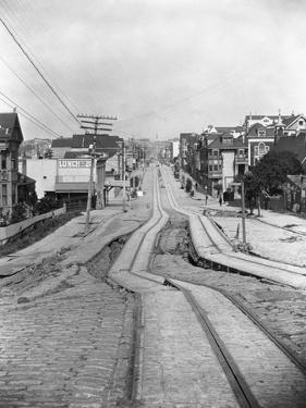 Cable Car Tracks Zig Zag after Earthquake