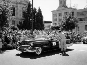 Cadillac Convertible in a Street Parade, USA, (C1958)