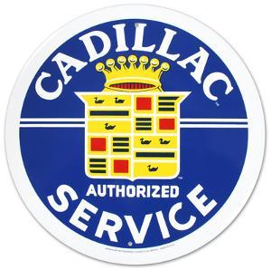 Cadillac Service Round Tin Sign