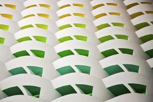 Architectural Details of the Colourful Balconies in the Atrium of the 7 Star Burj Al Arab Hotel by Cahir Davitt