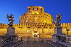 Castel Sant'Angelo, the Mausoleum of Hadrian, at Night, Flanked by Two Angel Statues by Cahir Davitt