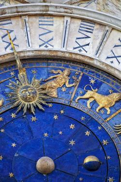Detail of the Clock Face on the Torre Dell in the Piazza San Marco, San Marco, Venice by Cahir Davitt