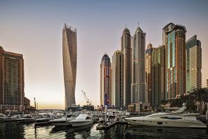 Dubai Marina at Sunset with the Cayan Tower (Infinity Tower) by Cahir Davitt