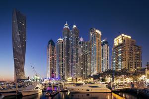 Dubai Marina at Twilight with the Cayan Tower (Infinity Tower) by Cahir Davitt