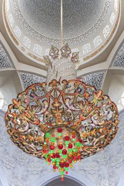 Interior Architectural Detail and Chandeliers of Prayer Hall in the Sheikh Zayed Mosque by Cahir Davitt