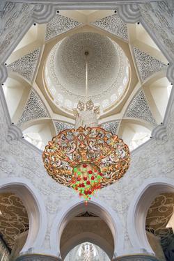 Interior Architectural Detail and Chandeliers of Prayer Hall, Sheikh Zayed Mosque by Cahir Davitt