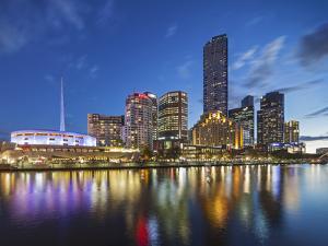 Melbourne Southbank Skyline, Eureka Tower and Hamer Hall over the Yarra River at Twilight by Cahir Davitt