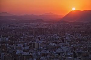 Sunset View over the Cityscape of Alicante Looking Towards Sierra De Fontcalent by Cahir Davitt