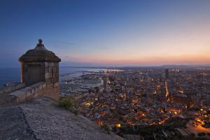 Sunset View over the Cityscape of Alicante Looking Towards the Lookout Tower and Port of Alicante by Cahir Davitt