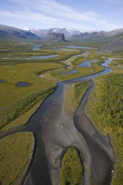 Aerial of Laitaure Delta in Rapadalen Valley with Skierffe and Nammatj Mountains, Sarek Np, Sweden by Cairns