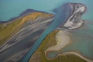 Aerial View over Lake Laitaure Showing Silt Deposits from the Rapa River, Sarek Np, Sweden by Cairns