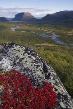View Along Rapadalen Valley Towards Tjahkkelij, with Nammatj Mountain, Sarek Np, Sweden by Cairns
