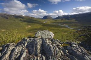 View from Lulep Spadnek Looking South Towards Tjahkkelij and Nammatj Mountain, Sarek Np, Sweden by Cairns