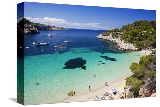 Cala Salada near Sant Antoni de Portmany, Island of Ibiza, Balearic Islands, Spain--Stretched Canvas